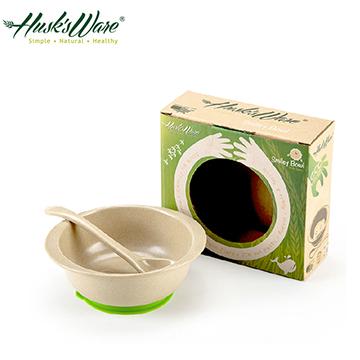 【Husk's ware】美國Husk's ware稻殼天然無毒環保兒童小餐碗(附小湯匙)綠色