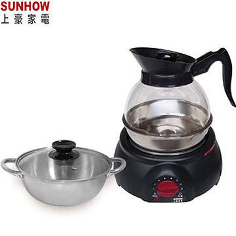 『SUNHOW 』☆上豪 1.8L 透明水壺泡茶壺+湯鍋組KR-1586