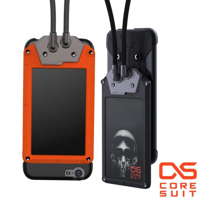 CORESUIT BADGE 證件夾+風格手機掛繩+iPhone6/6s 4.7吋手機殼-橘紅