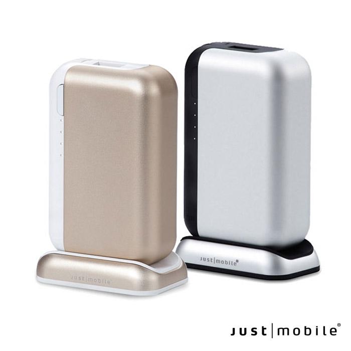 Just Mobile Top Gum 6000mAh 3.4A 雙輸出USB鋁合金行動電源含充電座銀色