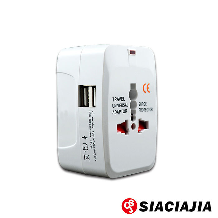 【SCJ】全新款全球通萬用轉換插頭座(雙USB插孔)出國旅行必備
