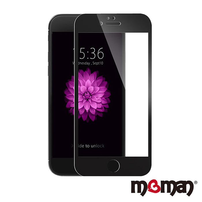 Mgman iPhone6/6s Plus (5.5) 3D曲面滿版碳纖維軟邊玻璃保護貼黑色