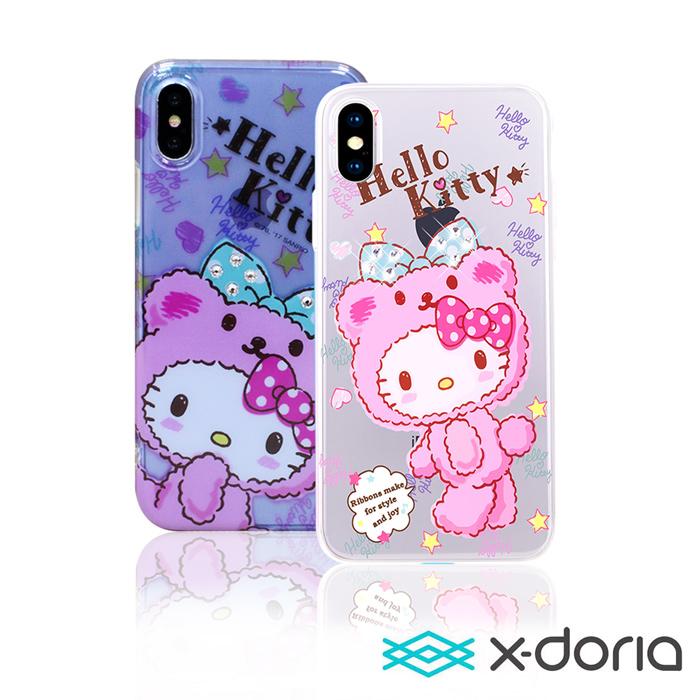 X-doria Hello Kitty iPhone X 俏皮熊系列保護硬殼藍紫俏皮熊