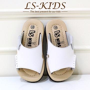 【LS-KIDS】手工精緻學步鞋-休閒皮拖-牛奶白(全真皮)