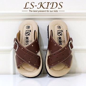 【LS-KIDS】手工精緻學步鞋-經典皮拖-巧克力棕(全真皮)