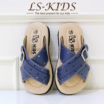 【LS-KIDS】手工精緻學步鞋-經典皮拖-海軍藍(全真皮)
