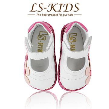 【LS-KIDS】手工精緻學步鞋-甜美淑女鞋系列-時尚白