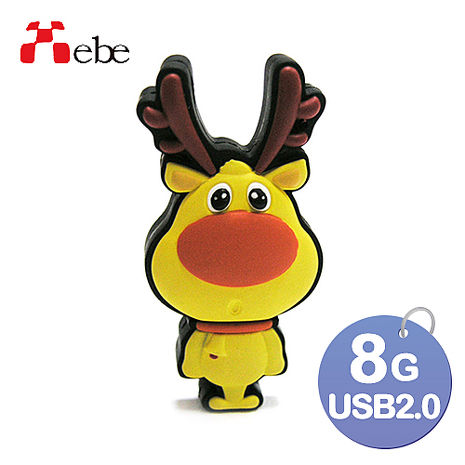 Xebe集比 8G 聖誕麋鹿造型USB隨身碟-3C電腦週邊-myfone購物